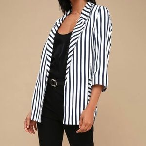 Striped Oversized Satin Blazer